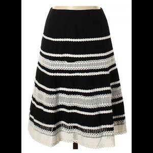 Talbots Black White Lace Eyelet Skirt A-Line Sz 14
